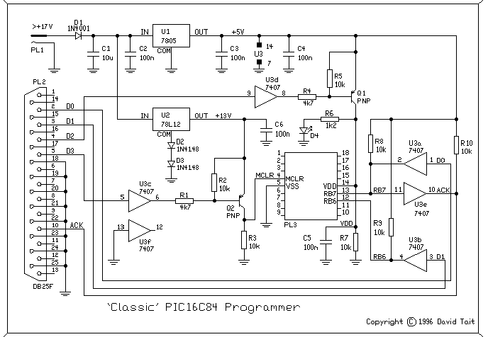 Tait Classic PIC Programmer schematic